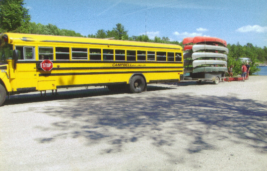 Campbell bus with canoe trailer
